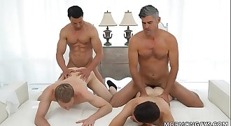 2 Mormon Daddy's Having Fun With 2 Twinks