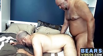 Mature daddy Jake Thorn bangs fat hairy bear Guy English