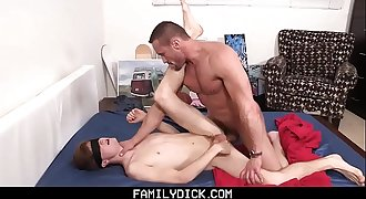 FamilyDick - Muscle Daddy Plays With Blindfolded Lad