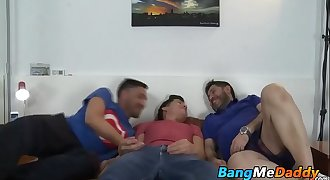Sexy young guy fucks with two mature gay dudes in many poses