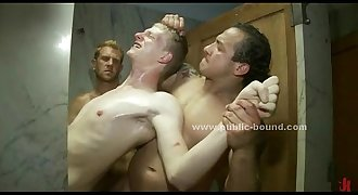 Gay boy gets his clothes ripped then is forced to fuck in extreme gay gang bang
