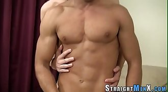 Twink tugs straight cock
