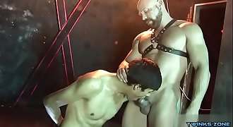 Tattoo twink trussed and facial cumshot